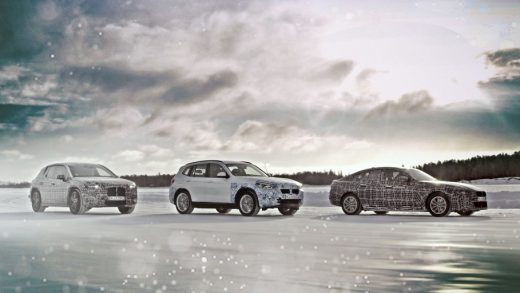 BMW iNEXT, BMW iX3, and BMW i4 in winter testing in 2019