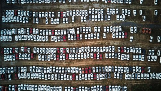 New cars lined up at a parking lot on Sept. 6, 2017 in Shenyang, Liaoning Province of China.