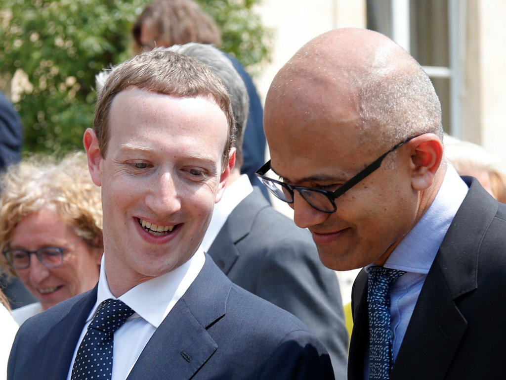 Facebook CEO Mark Zuckerberg Microsoft CEO Satya Nadella