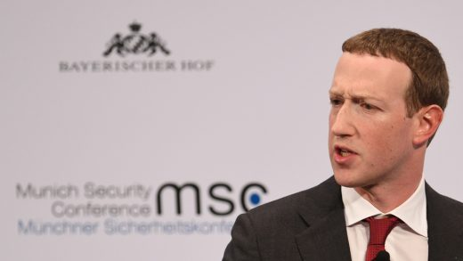 The founder and CEO of Facebook Mark Zuckerberg speaks during the 56th Munich Security Conference in Munich, southern Germany, on February 15, 2020.
