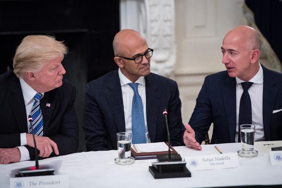 President Donald Trump Satya Nadella Jeff Bezos