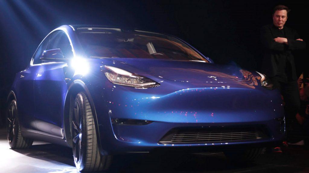 Tesla CEO Elon Musk views the new Tesla Model Y