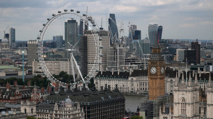 The London Eye, the Big Ben clock tower and the City of London financial district are seen from the Broadway development site in central London, Britain, August 23, 2017.