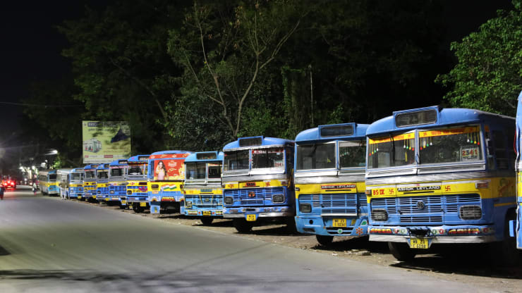 A deserted view of the bus strand during a government-imposed nationwide lockdown as a preventive measure against the COVID-19 coronavirus, in Kolkata, India, on April 19.2020.