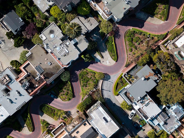 Lombard Street in the Russian Hill neighborhood on March 17, 2020.. JOSH EDELSON/AFP via Getty Images