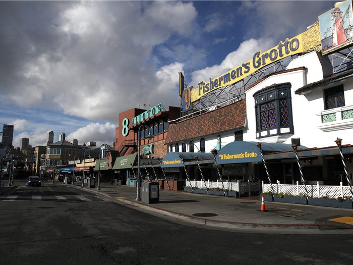 Fisherman's Wharf is seen empty on March 17, 2020 in San Francisco. Justin Sullivan/Getty Images