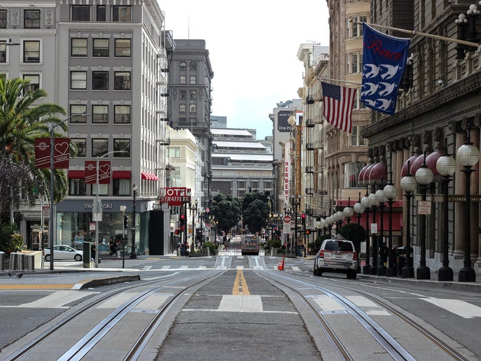 Powell Street is empty of cable cars and shoppers on March 22, 2020. Katie Canales/Business Insider