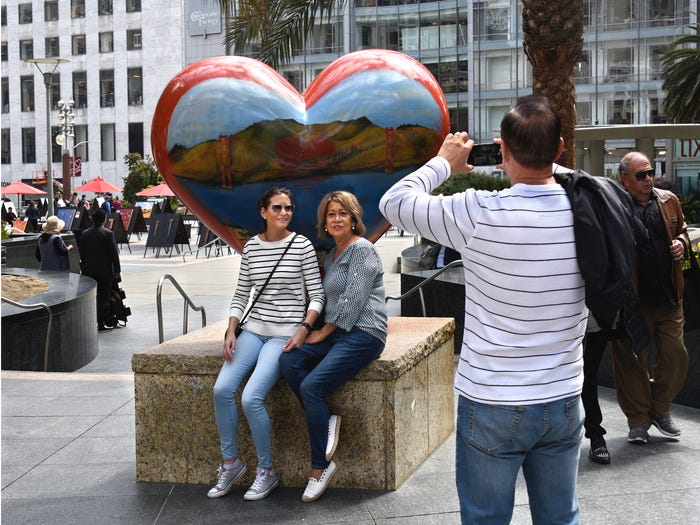Tourists in Union Square in 2018. Robert Alexander/Getty Images