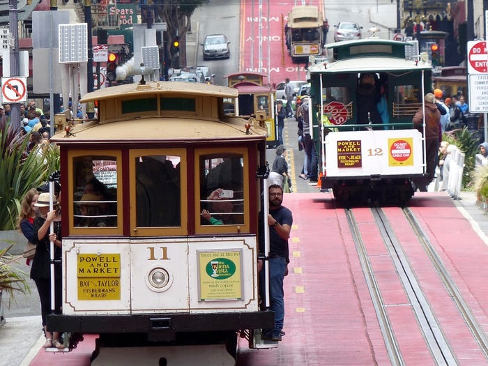 Cable cars on Powell Street in San Francisco in 2016. Barbara Munker/picture alliance via Getty Images