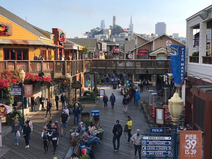 Pier 39 at San Francisco Fisherman Wharf on October 18, 2017. DANIEL SLIM/AFP via Getty Images