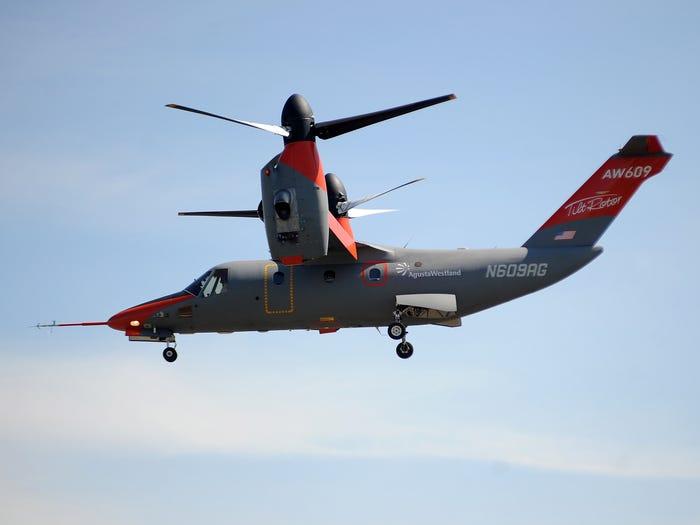 A Leonardo AW609 aircraft