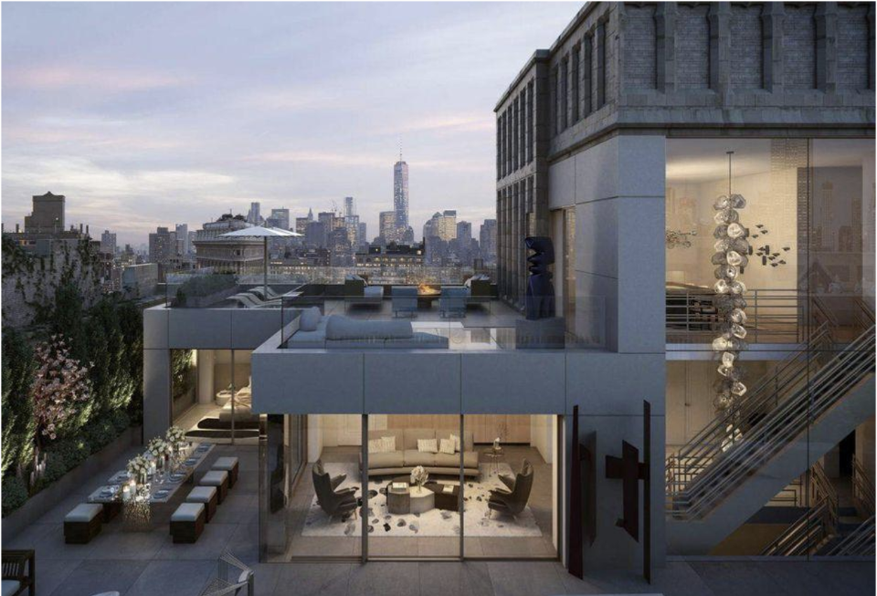 Exterior rendering of penthouse at 212 Fifth Avenue