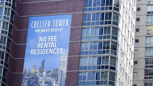 A Chelsea Tower rental apartments billboard.
