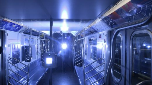 Demonstration of UV disinfecting technology at the Corona Maintenance Facility on Tue., May 19, 2020. Photo: MTA New York City Transit