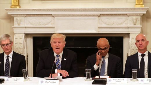 U.S. President Donald Trump (2nd L) welcomes members of his American Technology Council, including (L-R) Apple CEO Tim Cook, Microsoft CEO Satya Nadella and Amazon CEO Jeff Bezos in the State Dining Room of the White House