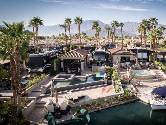 The RV resort's waterfront lots all come with private boat docks. Motorcoach Country Club