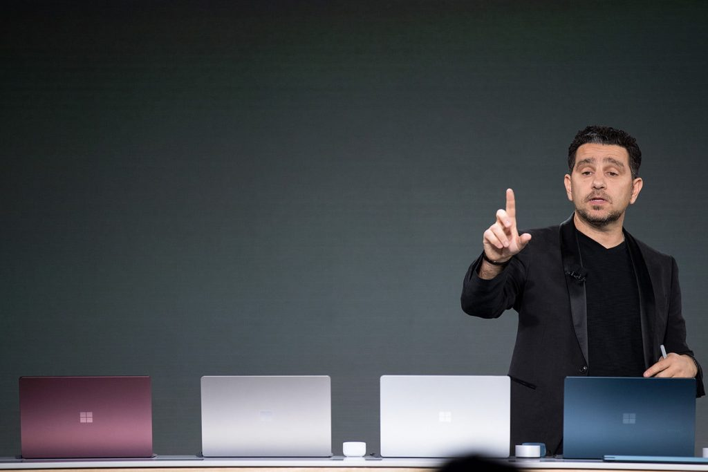 Panos Panay, vice president of Microsoft Surface Computing, speaks about the new Microsoft Surface Laptop during a Microsoft launch event, May 2, 2017 in New York City.