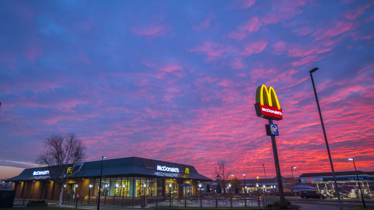 The sun sets behind a McDonald's restaurant in Southport, England, in January 2020.