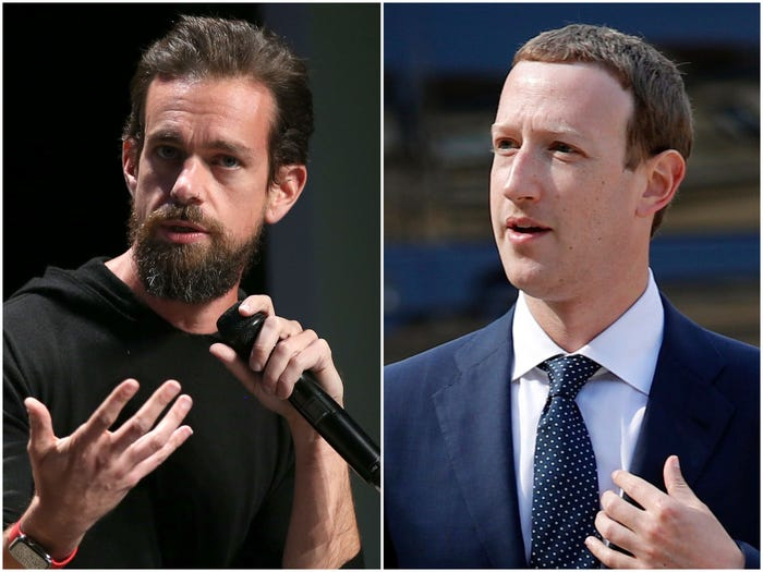 Mark Zuckerberg and Jack Dorsey