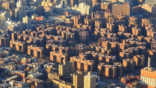 The Stuyvesant Town and Peter Cooper Village private residential development (bottom C) is seen in New York.