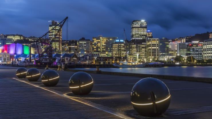 The city of Wellington, New Zealand, at night.