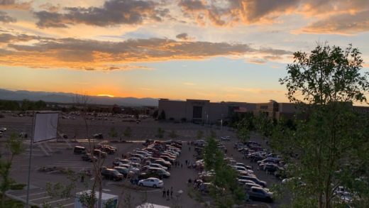 A drive-in movie theater is set up in the parking lot of Brookfield's Park Meadows mall in Lone Tree, Colorado, right outside of Denver.
