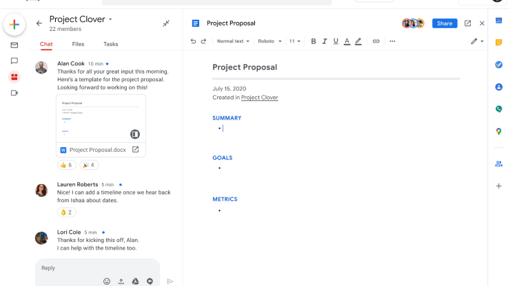 People can chat and work on documents in the revamped Gmail.