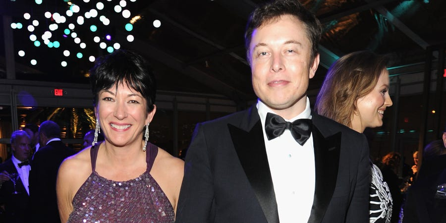 Ghislaine Maxwell and Elon Musk pictured at an Oscars afterparty in Los Angeles in 2014