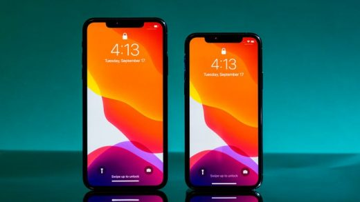 The iPhone 11 Pro Max, left, and iPhone 11 Pro. Hollis Johnson/Business Insider
