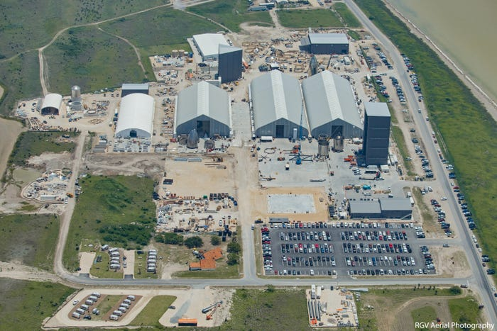 An aerial photo of SpaceX's emerging Starship rocket factory in Boca Chica, South Texas, taken June 17. RGV Aerial Photography