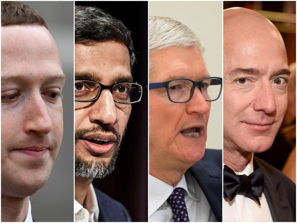 Mark Zuckerberg, Sundar Pichai, Tim Cook, and Jeff Bezos