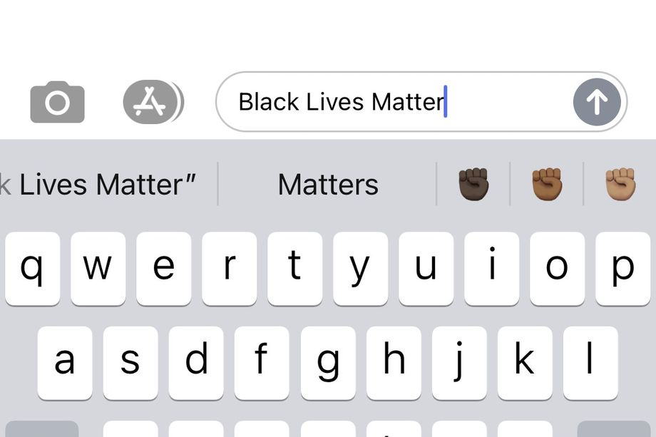 The iOS keyboard now suggests the Black fist emoji if you type 'Black Lives Matter' or 'BLM'