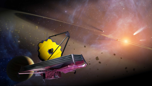 An illustration of the James Webb Space Telescope. NASA