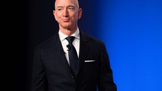 Amazon and Blue Origin founder Jeff Bezos provides the keynote address at the Air Force Association's Annual Air, Space & Cyber Conference in Oxen Hill, MD, on September 19, 2018. (Photo by Jim WATSON / AFP) (Photo credit should read JIM WATSON/AFP via Getty Images)