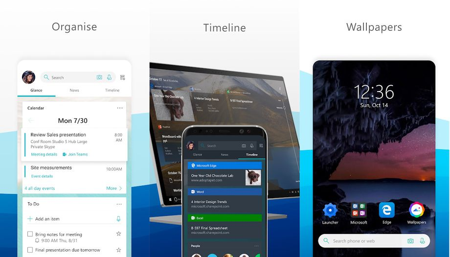 The main purpose of the Launcher app is to make it easier to transition between tasks on Android and Windows devices. Image: Microsoft