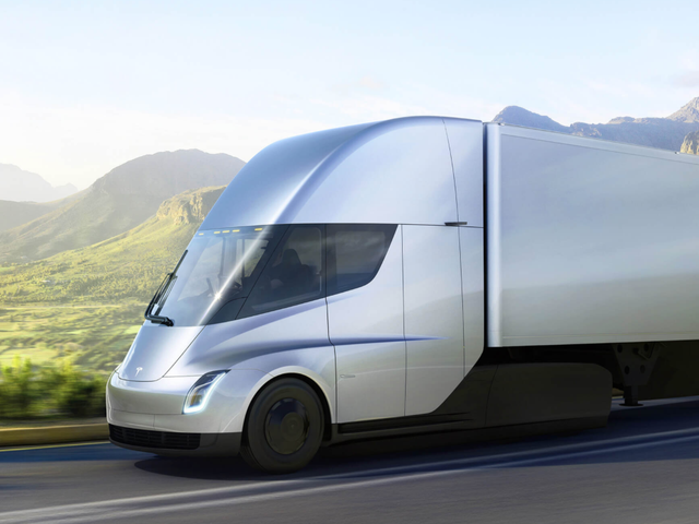 The Tesla Semi drives on a country highway. TESLA CORPORATE WEBSITE
