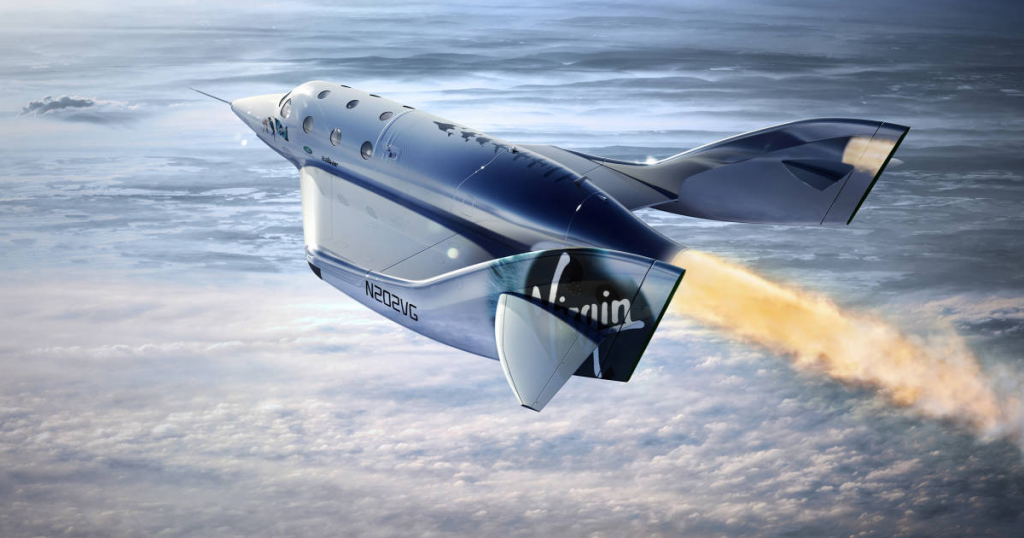 "Virgin Galactic's SpaceShipTwo ""Unity"" launches toward the edge of space on December 13, 2018. Virgin Galactic; MarsScientific.com/Trumbull Studios"