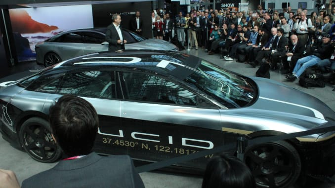 The Lucid Air Alpha test car, displayed at the New York Auto Show, reached a software-limited 217 miles per hour on a text track in Ohio. Robert Ferris | CNBC