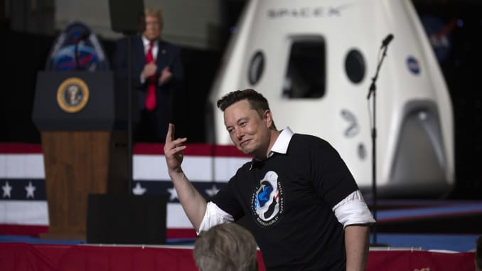 CAPE CANAVERAL, FLORIDA - MAY 30: U.S. President Donald Trump acknowledges SpaceX founder Elon Musk (R) after the successful launch of the SpaceX Falcon 9 rocket with the manned Crew Dragon spacecraft at the Kennedy Space Center on May 30, 2020 in Cape Canaveral, Florida. Earlier in the day NASA astronauts Bob Behnken and Doug Hurley lifted off on the inaugural flight and will be the first people since the end of the Space Shuttle program in 2011 to be launched into space from the United States. (Photo by Saul Martinez/Getty Images)Saul Martinez   Getty Images News   Getty Images