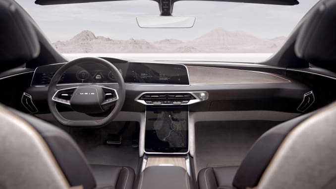 Interior of the Lucid Air show car, which is expected to be produced beginning in 2021. Lucid