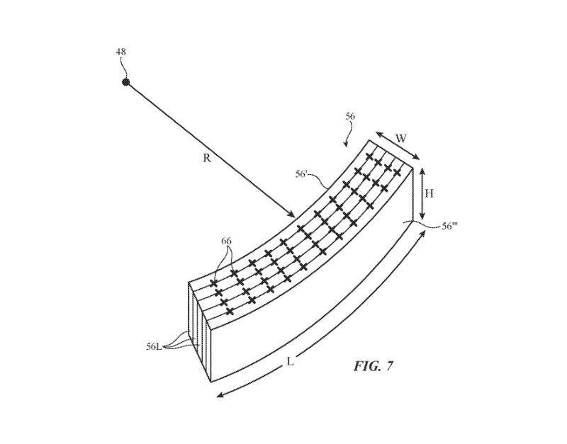 Detail from the patent showing one way in which a sensor may be curved