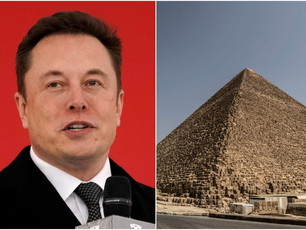 Tesla CEO Elon Musk and the pyramids of Giza in Egypt.