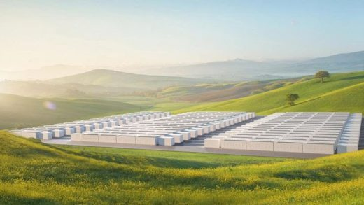 Concept drawing of Tesla's 1-gigawatt hour (GWh)[-] megapack battery facility. If operational an energy storage system of this size could power every home in San Francisco, CA for up to 6 hours. TESLA