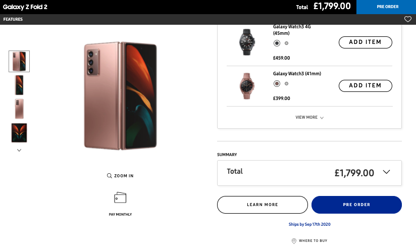 A screenshot of the pre-order page on Samsung's UK website.