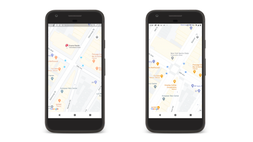 New street views (shown here on the right) in London, New York, and San Francisco will show off more street details. Image: Google