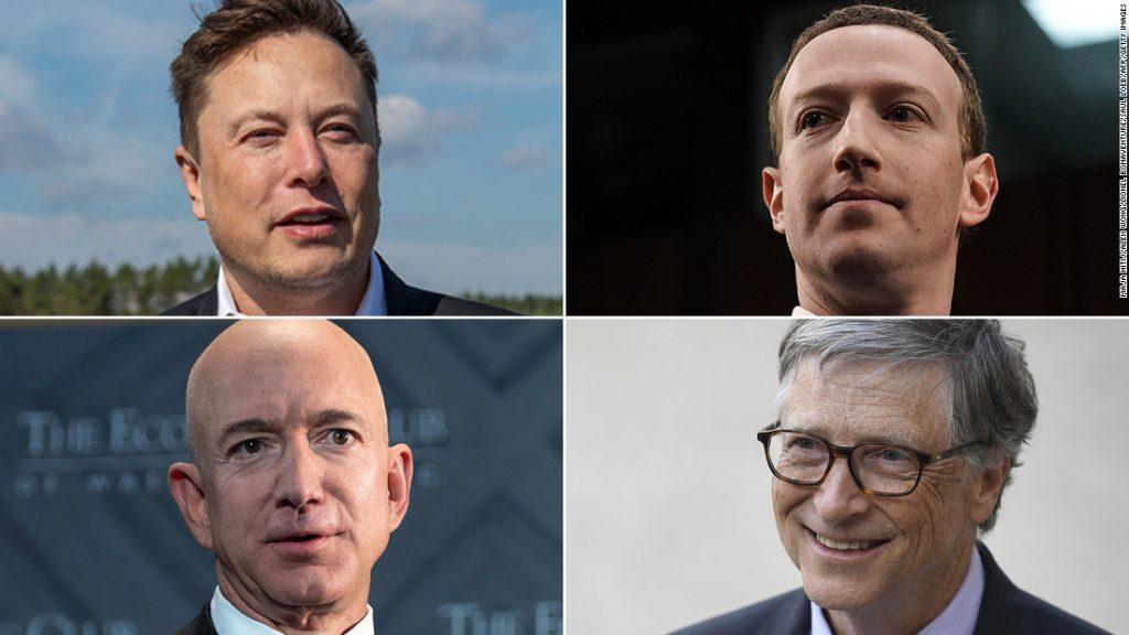 US Billionaires Elon Musk Mark Zuckerberg Jeff Bezos Bill Gates