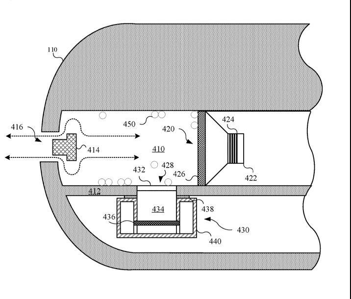 Detail from the patent describing how a speaker system can be used to eject water