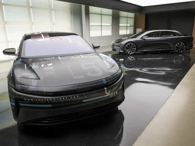 A photo of the Lucid Air prototype. The four-door Air is said to make 1,080 horsepower and achieve a range of 517 miles under perfect driving conditions. DAVID PAUL MORRIS, BLOOMBERG