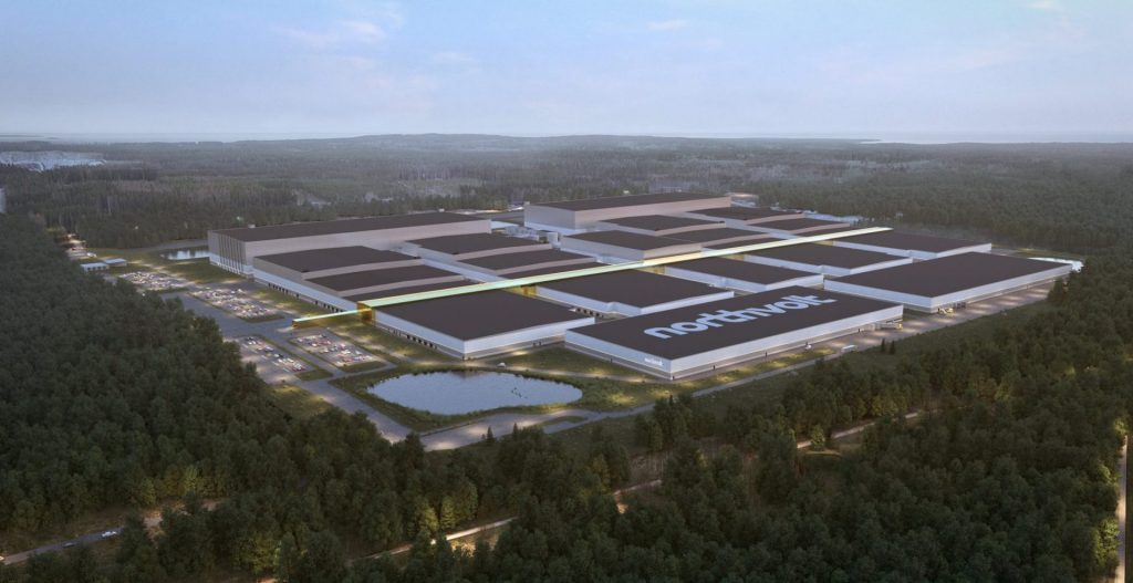 What the Northvolt battery factory in northern Sweden will look like when ready.