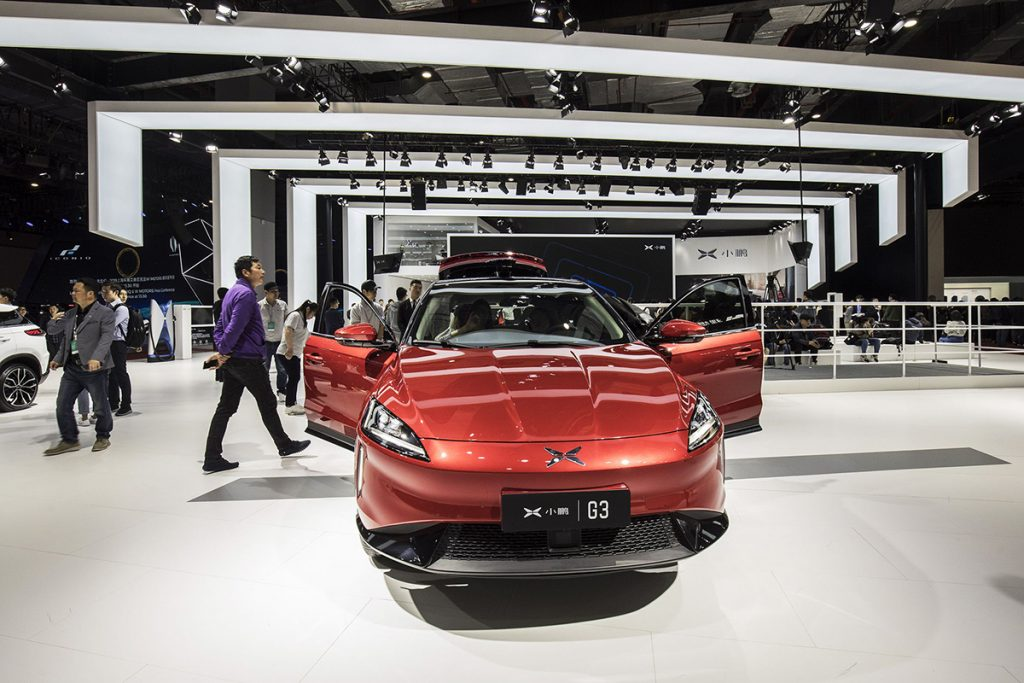Xpeng Motor's G3 electric SUV is displayed at the Guangzhou International Automobile Exhibition in Guangzhou, China, in November 2018. Photo: Bloomberg